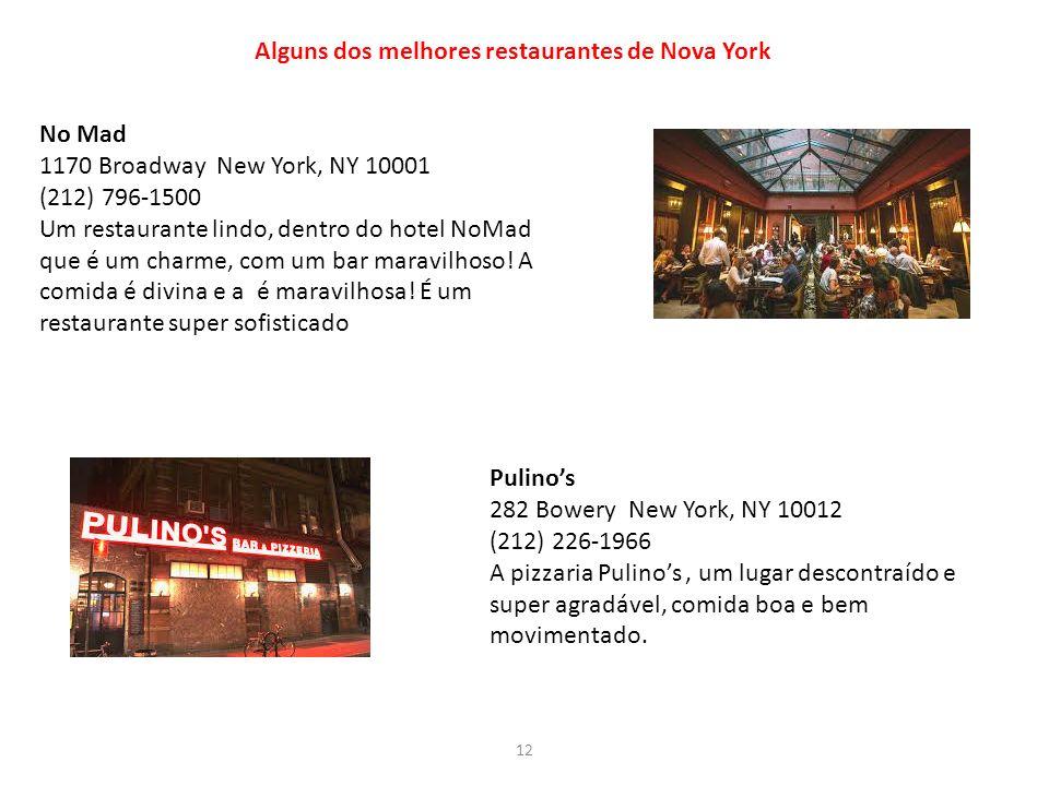 Alguns dos melhores restaurantes de Nova York