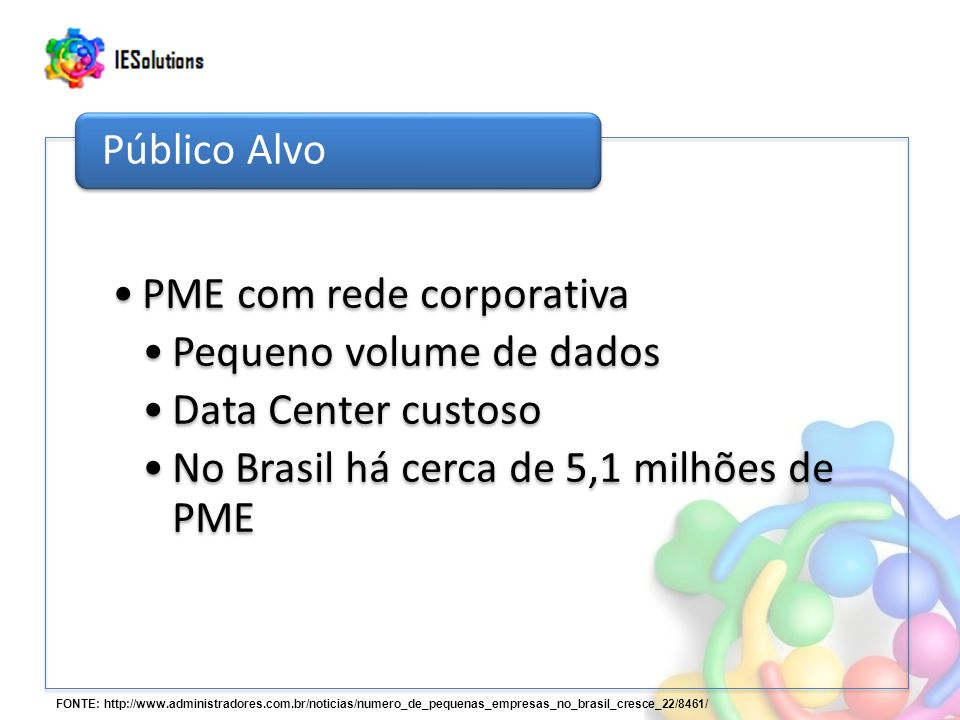 PME com rede corporativa Pequeno volume de dados Data Center custoso