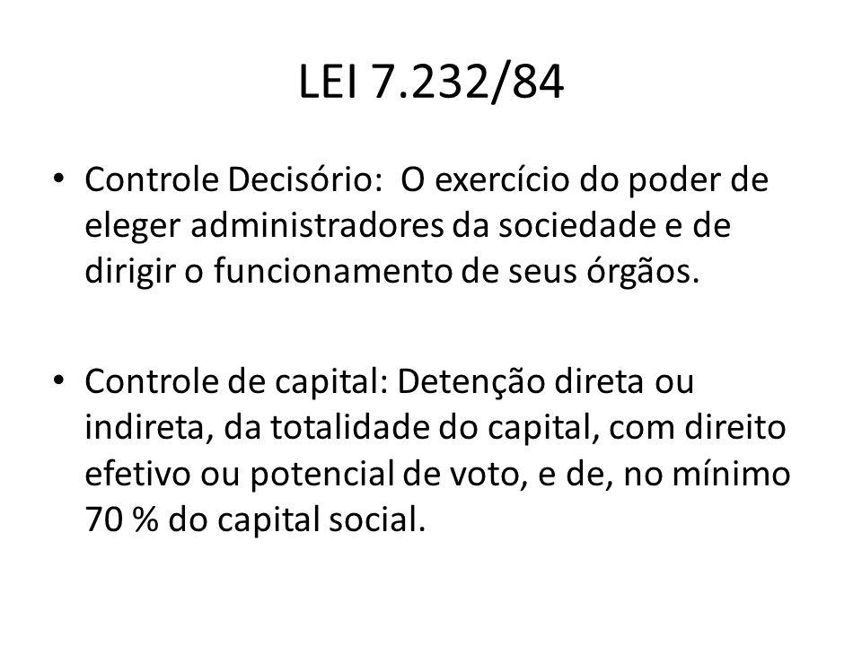 LEI 7.232/84 Controle Decisório: O exercício do poder de eleger administradores da sociedade e de dirigir o funcionamento de seus órgãos.