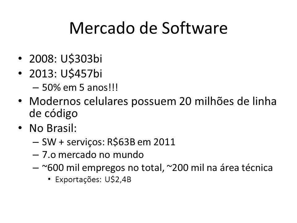 Mercado de Software 2008: U$303bi 2013: U$457bi