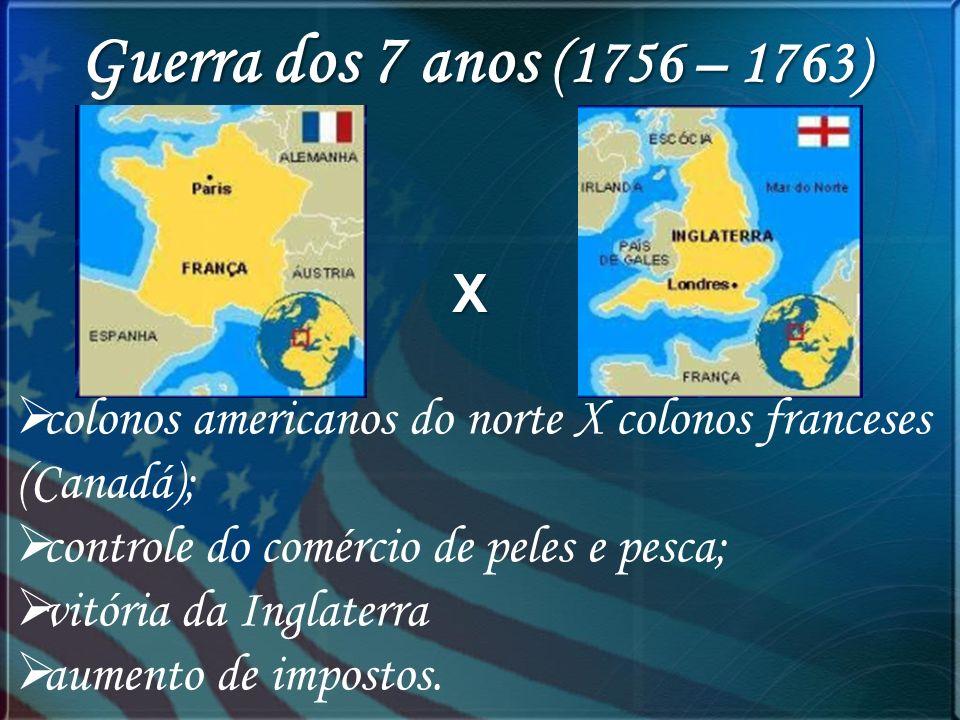 Guerra dos 7 anos (1756 – 1763) X. colonos americanos do norte X colonos franceses (Canadá); controle do comércio de peles e pesca;