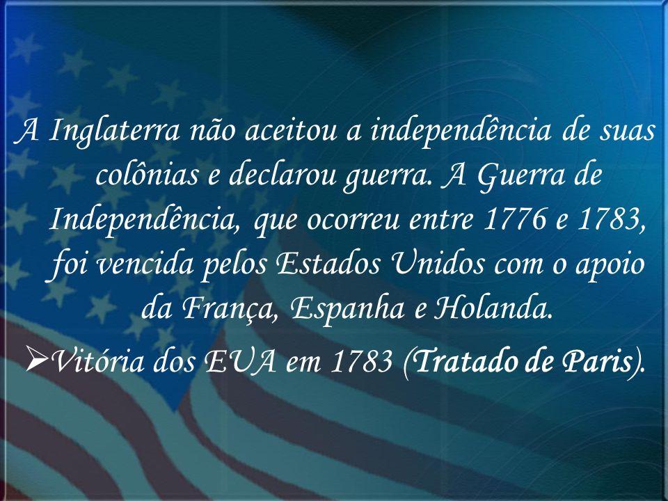 Vitória dos EUA em 1783 (Tratado de Paris).