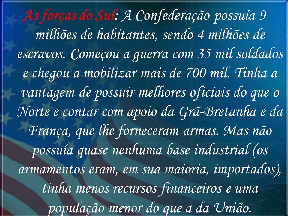 As forças do Sul: A Confederação possuía 9 milhões de habitantes, sendo 4 milhões de escravos.