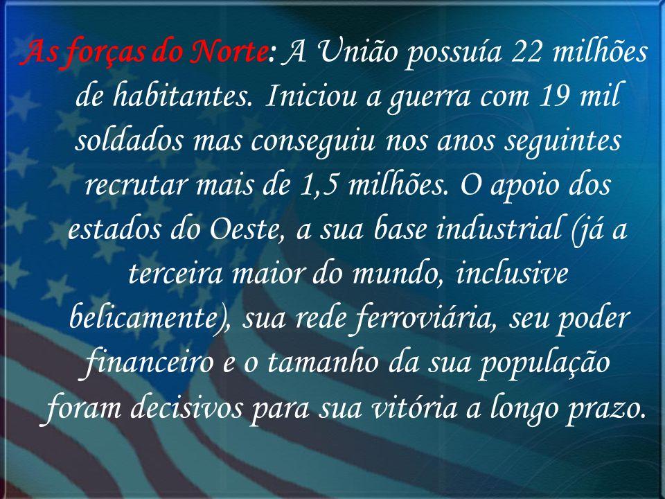 As forças do Norte: A União possuía 22 milhões de habitantes