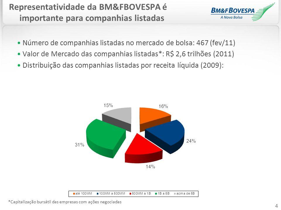 Representatividade da BM&FBOVESPA é importante para companhias listadas