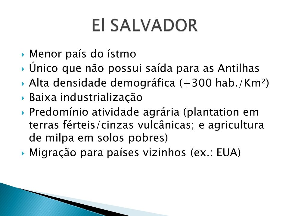 El SALVADOR Menor país do ístmo