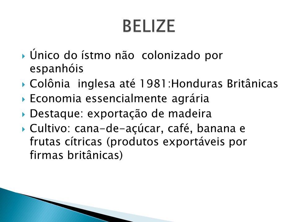 BELIZE Único do ístmo não colonizado por espanhóis