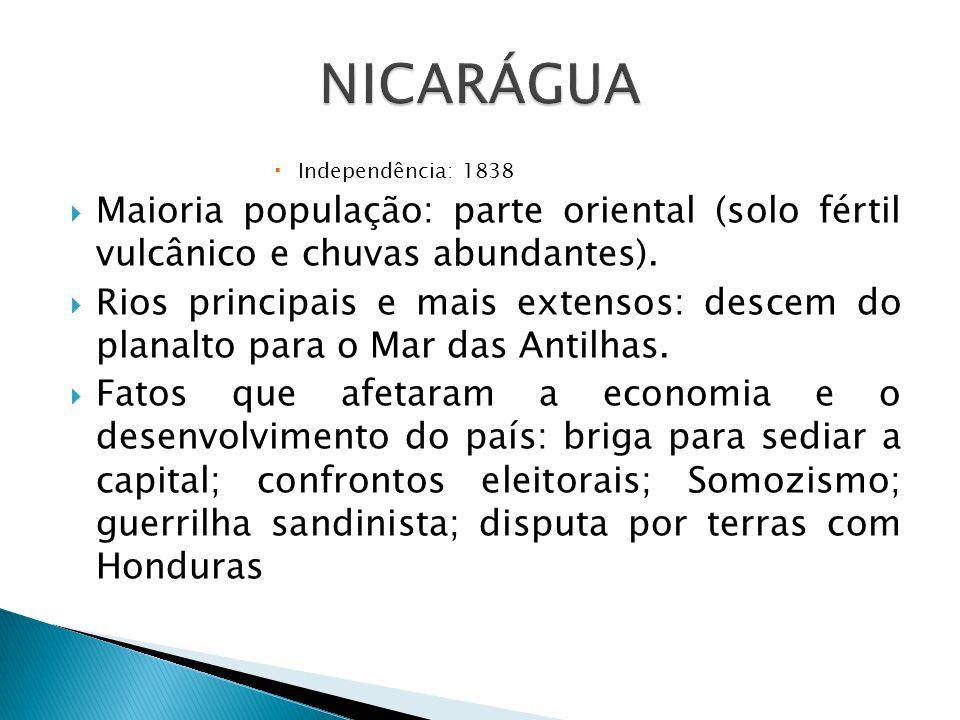 NICARÁGUA Independência: 1838. Maioria população: parte oriental (solo fértil vulcânico e chuvas abundantes).