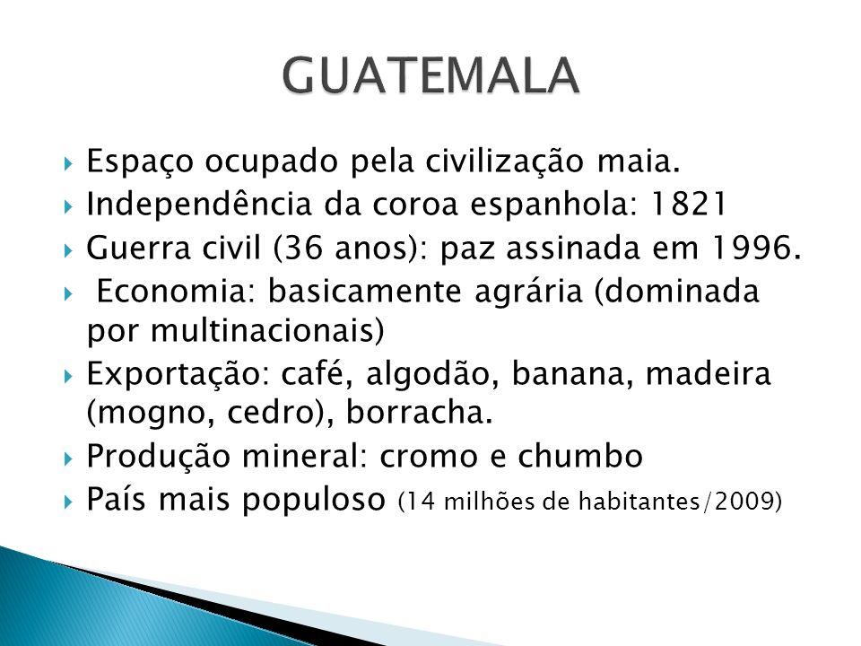 GUATEMALA Espaço ocupado pela civilização maia.