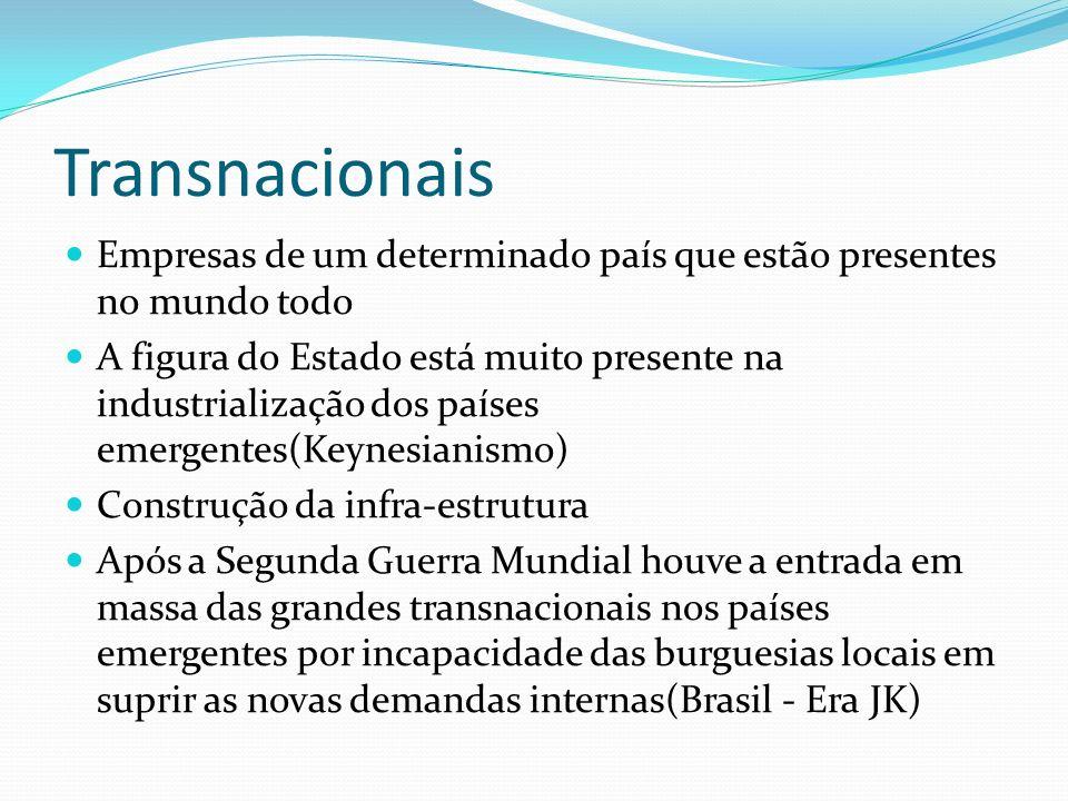 Transnacionais Empresas de um determinado país que estão presentes no mundo todo.