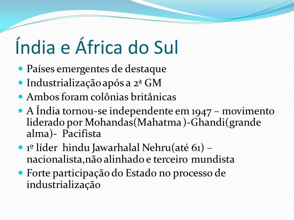 Índia e África do Sul Países emergentes de destaque