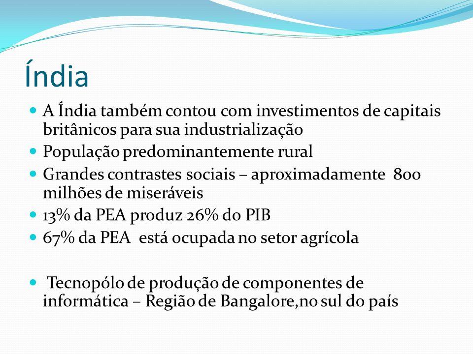 Índia A Índia também contou com investimentos de capitais britânicos para sua industrialização. População predominantemente rural.