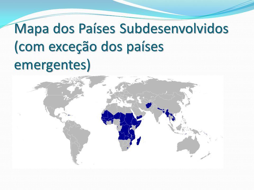 Mapa dos Países Subdesenvolvidos (com exceção dos países emergentes)
