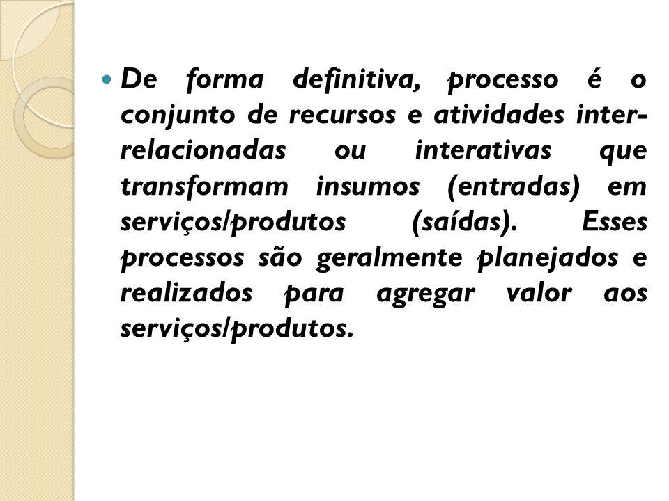 De forma definitiva, processo é o conjunto de recursos e atividades inter- relacionadas ou interativas que transformam insumos (entradas) em serviços/produtos (saídas).