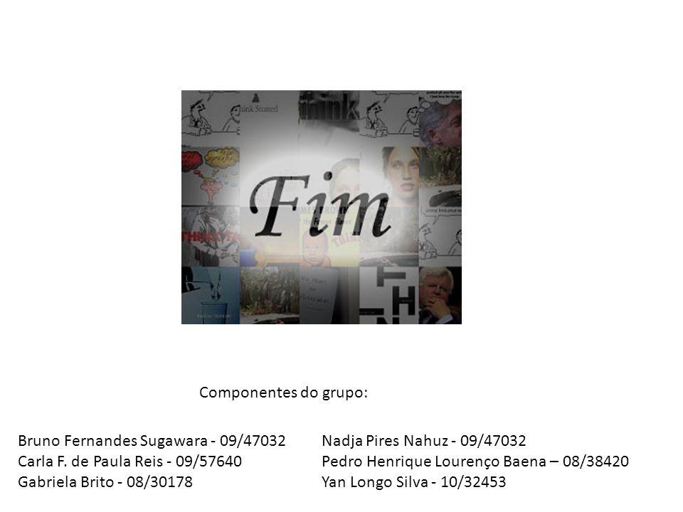Componentes do grupo: Bruno Fernandes Sugawara - 09/47032. Carla F. de Paula Reis - 09/57640. Gabriela Brito - 08/30178.
