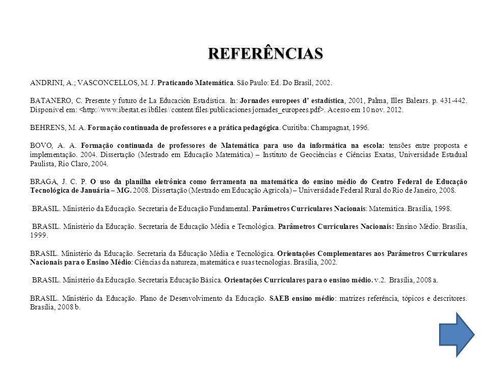 REFERÊNCIAS ANDRINI, A.; VASCONCELLOS, M. J. Praticando Matemática. São Paulo: Ed. Do Brasil, 2002.