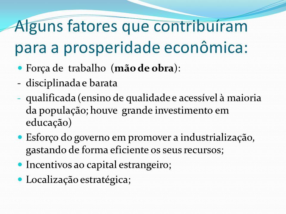 Alguns fatores que contribuíram para a prosperidade econômica: