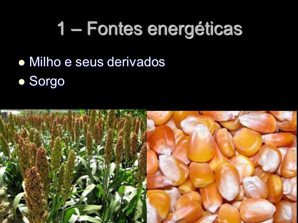 1 – Fontes energéticas Milho e seus derivados Sorgo