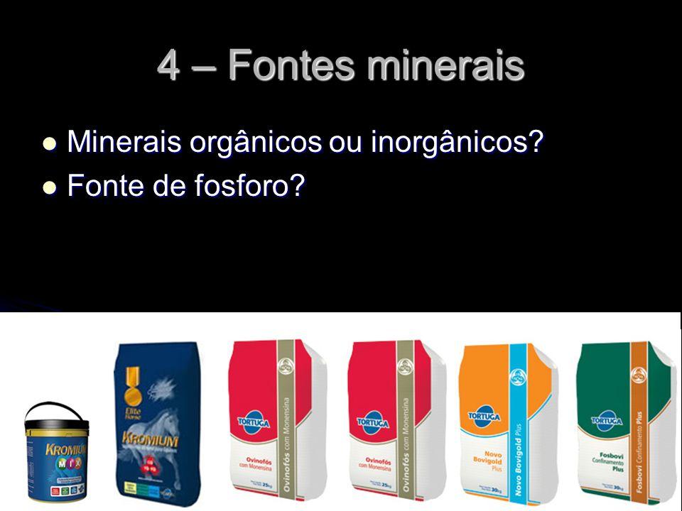 4 – Fontes minerais Minerais orgânicos ou inorgânicos