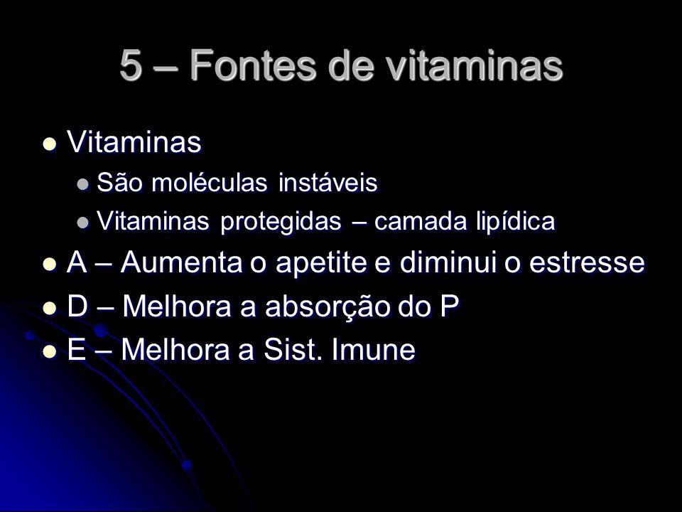5 – Fontes de vitaminas Vitaminas