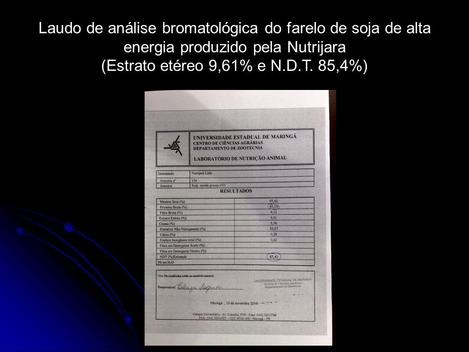 (Estrato etéreo 9,61% e N.D.T. 85,4%)