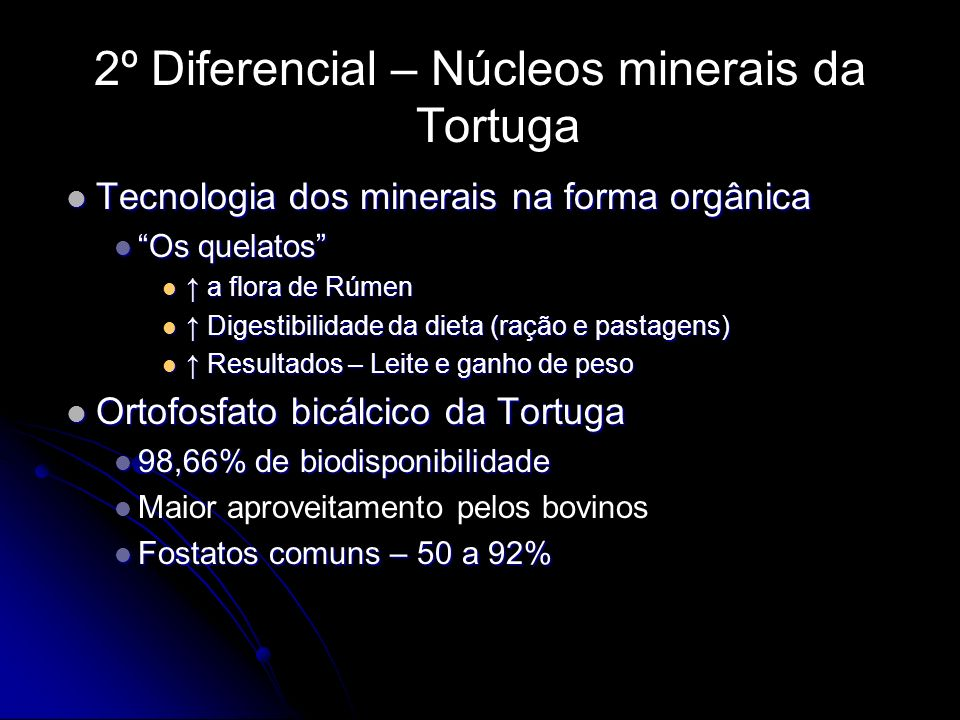 2º Diferencial – Núcleos minerais da Tortuga