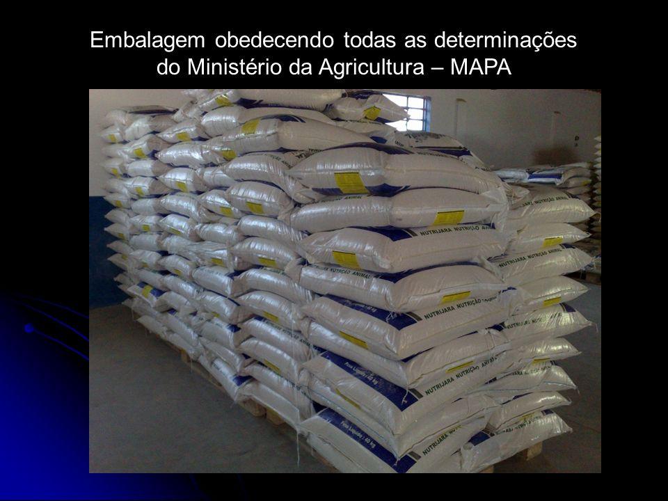 Embalagem obedecendo todas as determinações do Ministério da Agricultura – MAPA