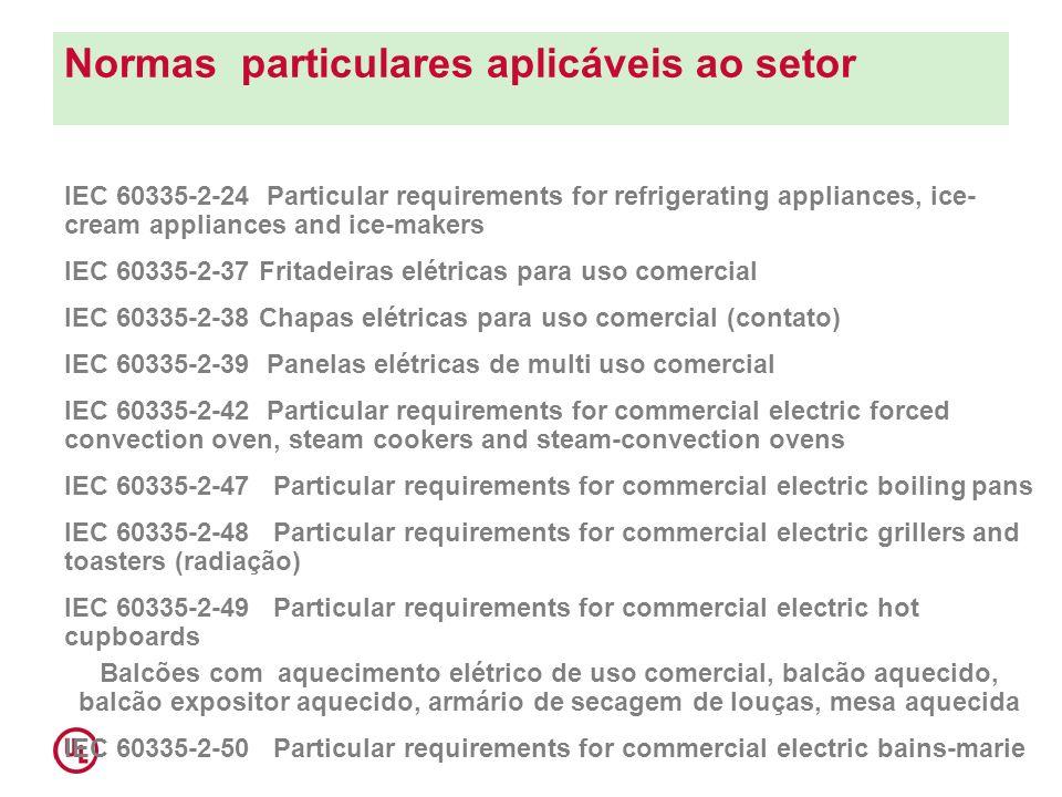 Normas particulares aplicáveis ao setor