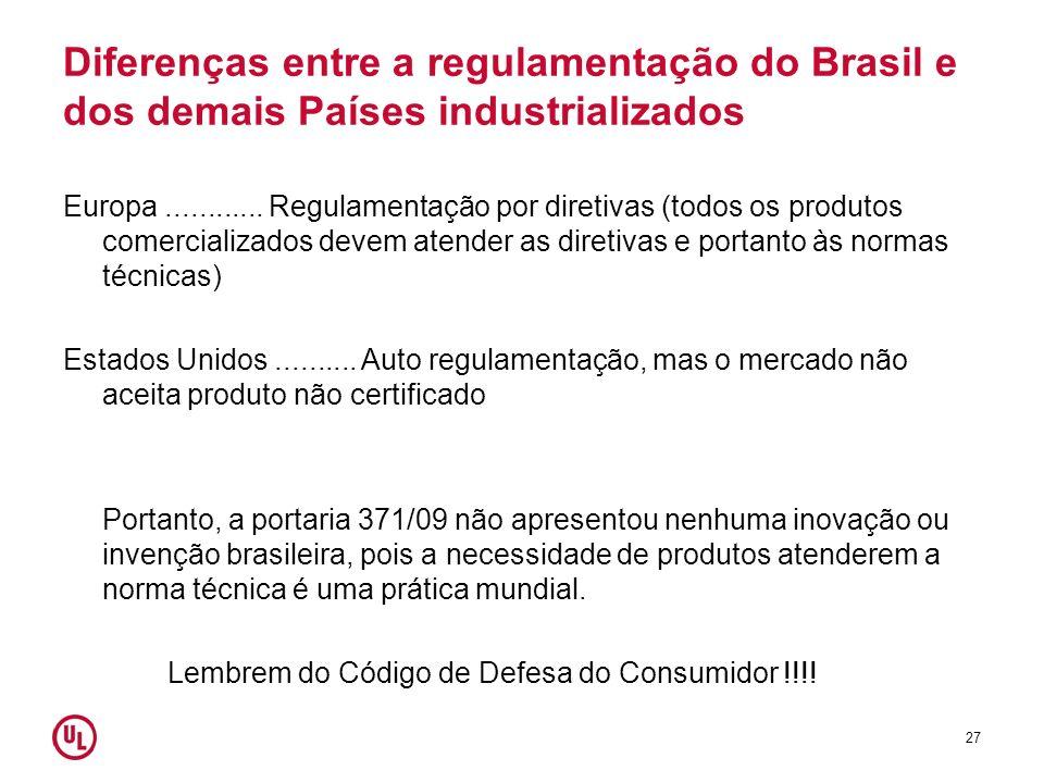 Diferenças entre a regulamentação do Brasil e dos demais Países industrializados
