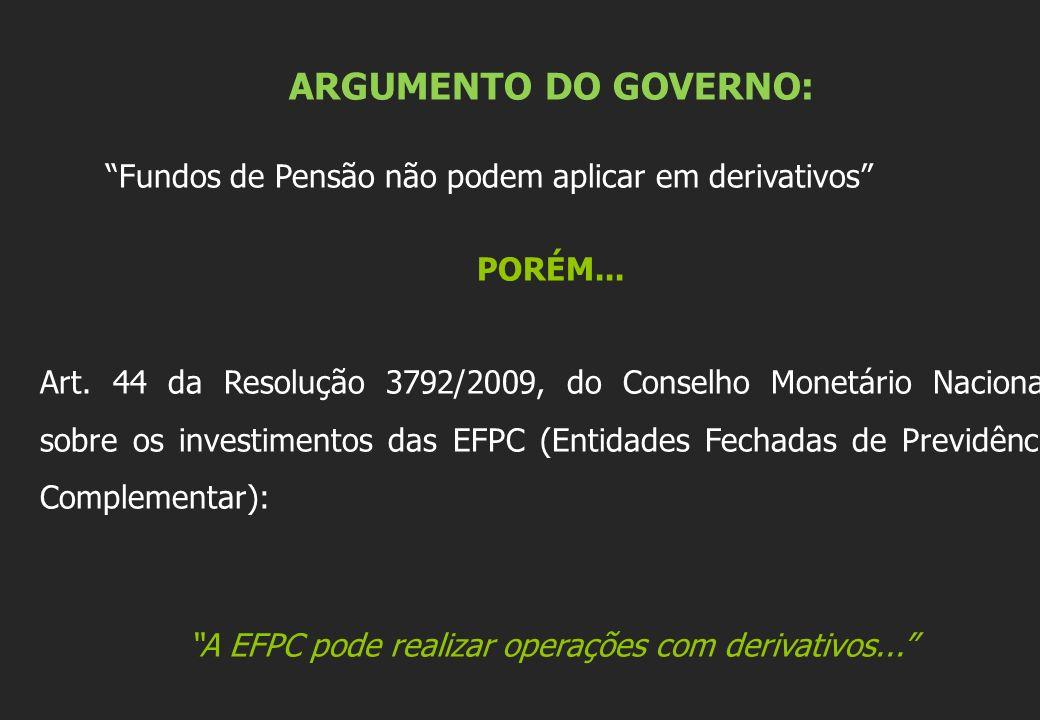 A EFPC pode realizar operações com derivativos...