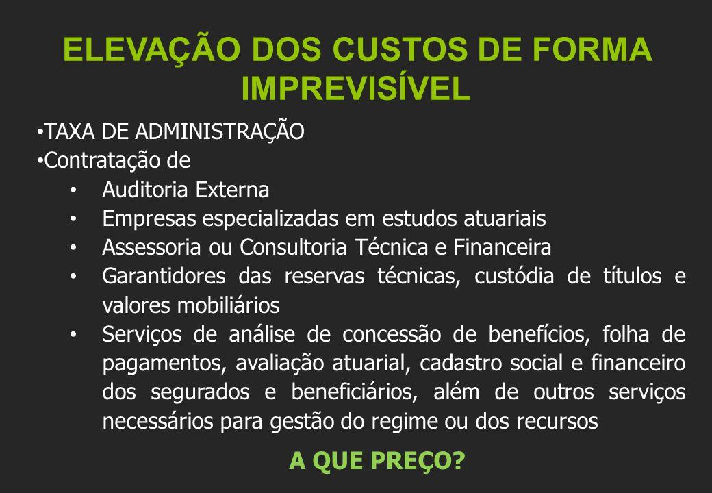 ELEVAÇÃO DOS CUSTOS DE FORMA IMPREVISÍVEL