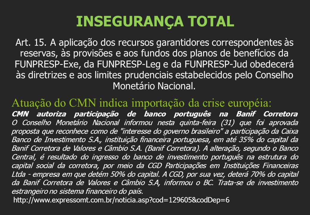 INSEGURANÇA TOTAL Atuação do CMN indica importação da crise européia: