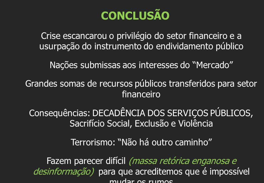 CONCLUSÃO Crise escancarou o privilégio do setor financeiro e a usurpação do instrumento do endividamento público.