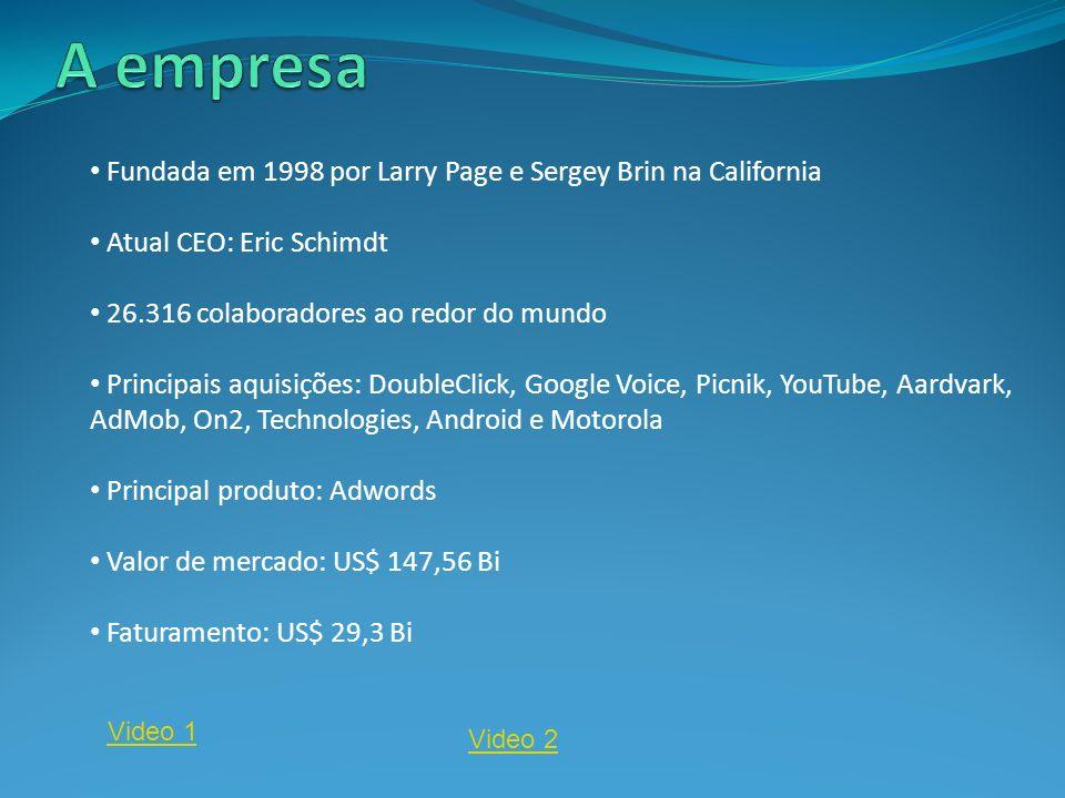 A empresa Fundada em 1998 por Larry Page e Sergey Brin na California