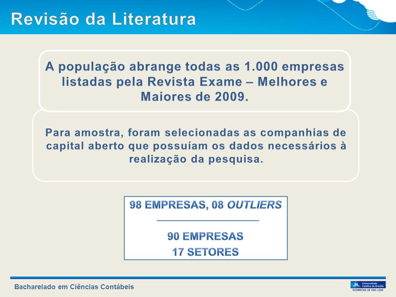 Revisão da Literatura A população abrange todas as 1.000 empresas listadas pela Revista Exame – Melhores e Maiores de 2009.