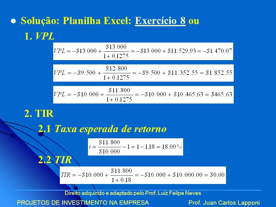 Solução: Planilha Excel: Exercício 8 ou 1. VPL