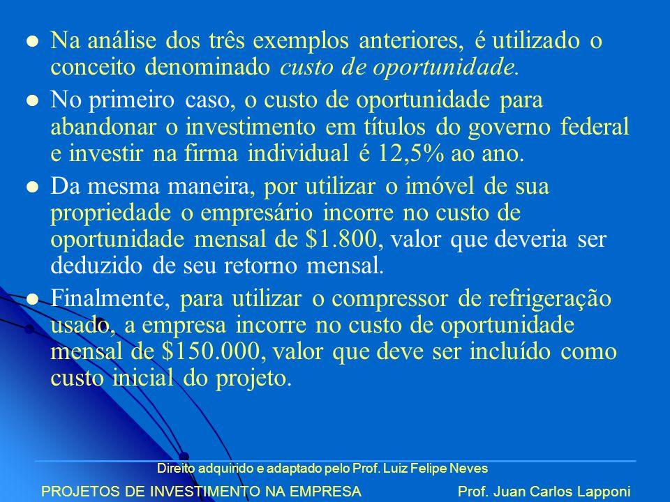 Na análise dos três exemplos anteriores, é utilizado o conceito denominado custo de oportunidade.