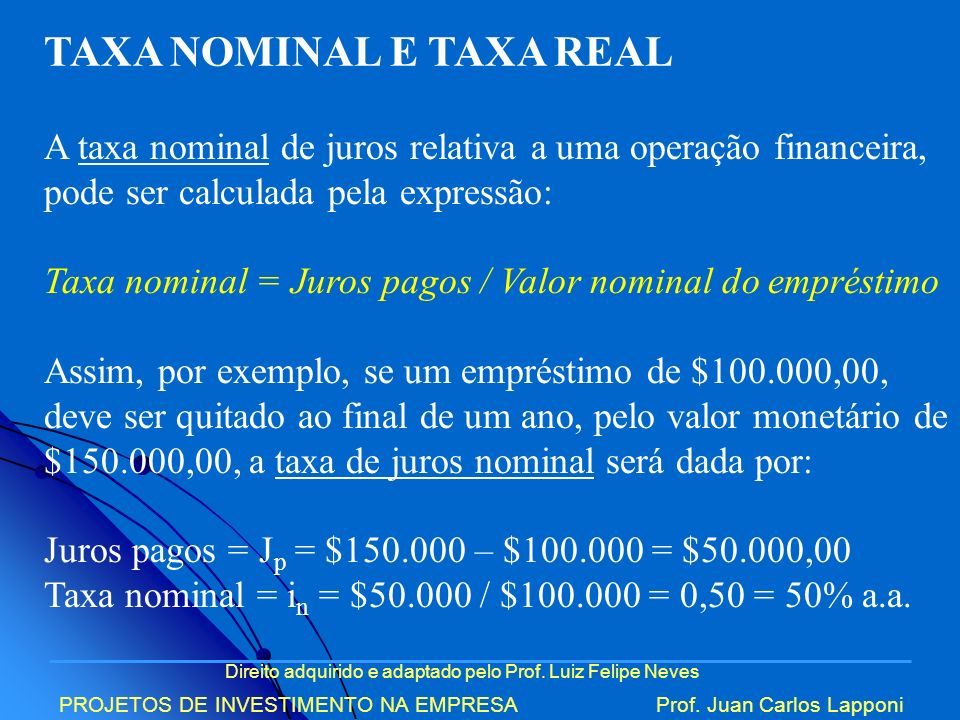 TAXA NOMINAL E TAXA REAL