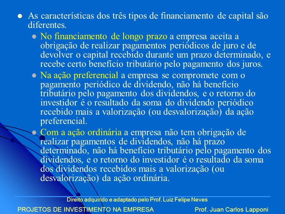 As características dos três tipos de financiamento de capital são diferentes.