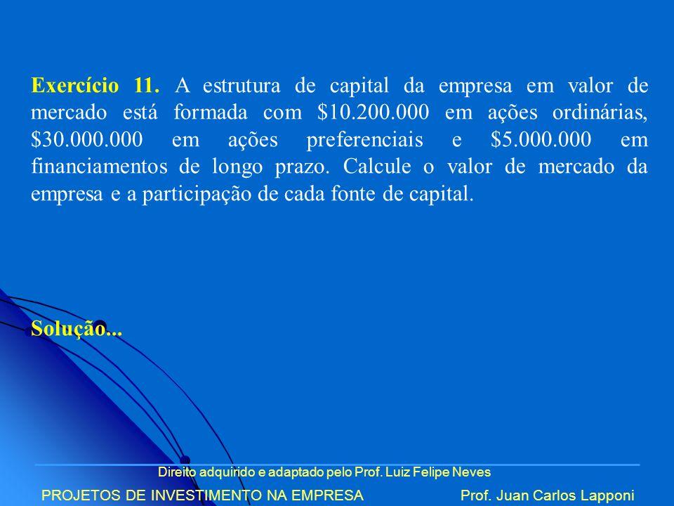 Exercício 11. A estrutura de capital da empresa em valor de mercado está formada com $10.200.000 em ações ordinárias, $30.000.000 em ações preferenciais e $5.000.000 em financiamentos de longo prazo. Calcule o valor de mercado da empresa e a participação de cada fonte de capital.