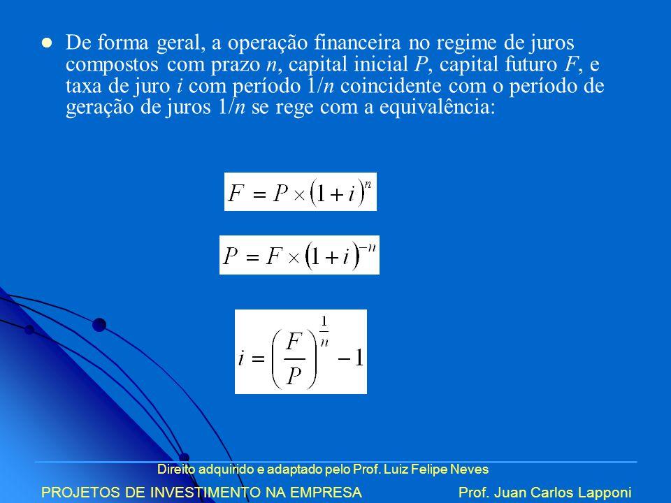 De forma geral, a operação financeira no regime de juros compostos com prazo n, capital inicial P, capital futuro F, e taxa de juro i com período 1/n coincidente com o período de geração de juros 1/n se rege com a equivalência: