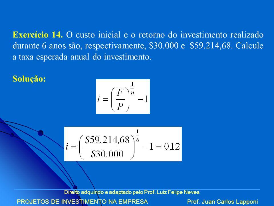Exercício 14. O custo inicial e o retorno do investimento realizado durante 6 anos são, respectivamente, $30.000 e $59.214,68. Calcule a taxa esperada anual do investimento.