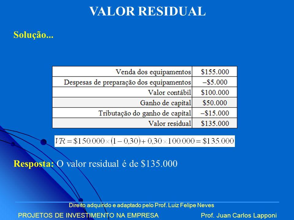 VALOR RESIDUAL Solução... Resposta: O valor residual é de $135.000