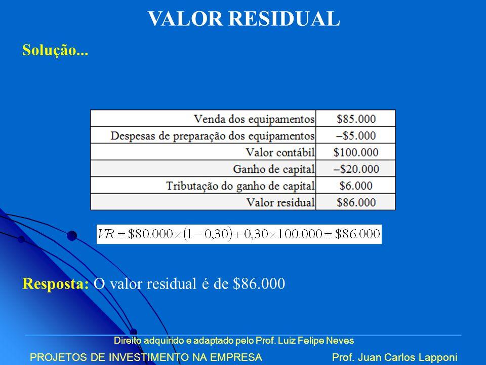 VALOR RESIDUAL Solução... Resposta: O valor residual é de $86.000