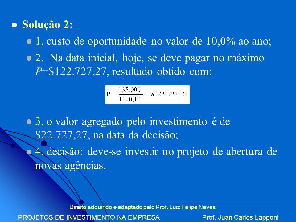 1. custo de oportunidade no valor de 10,0% ao ano;