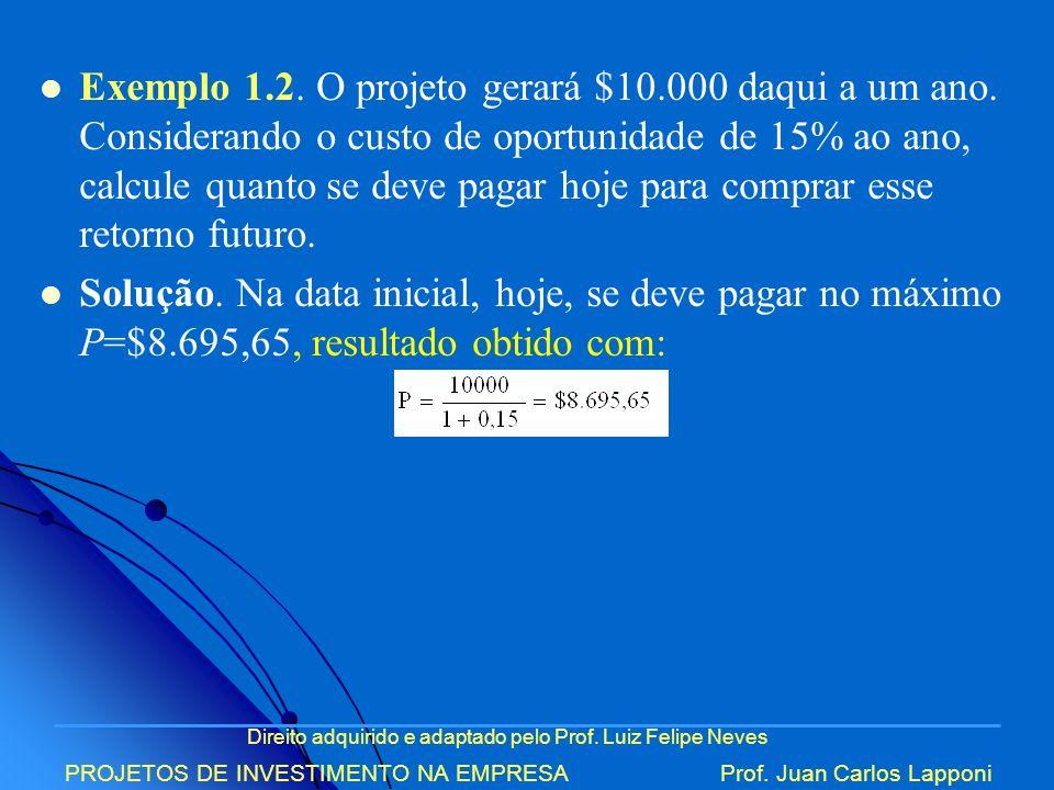 Exemplo 1. 2. O projeto gerará $10. 000 daqui a um ano