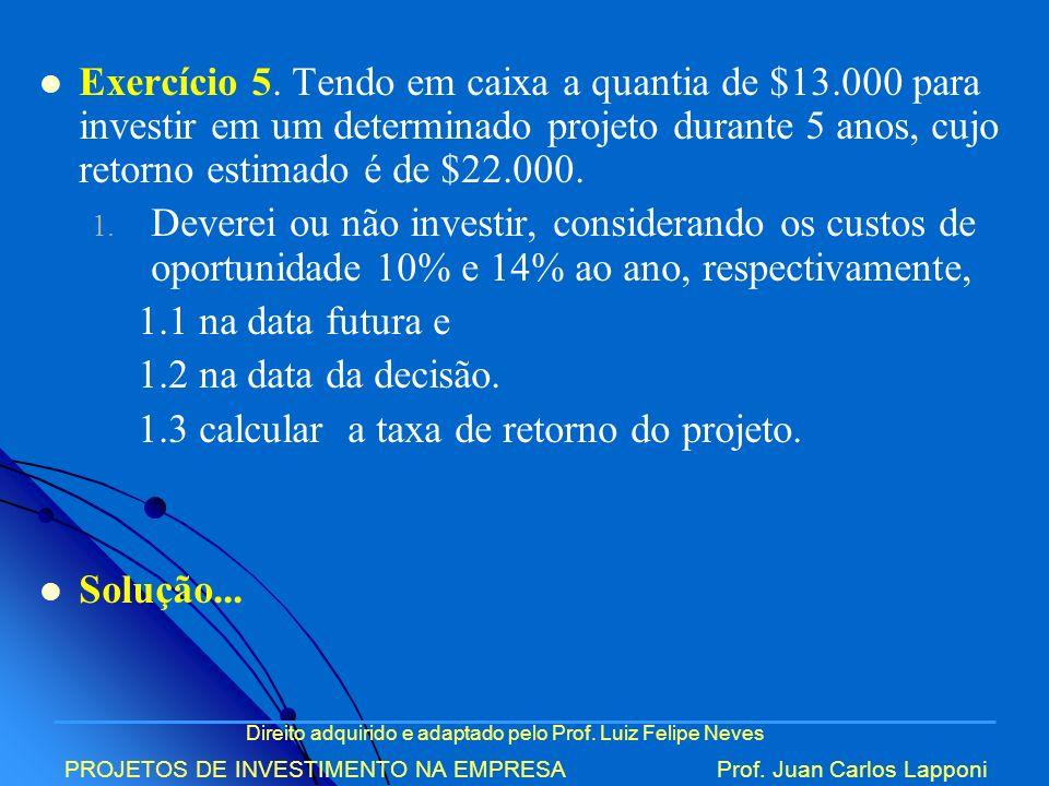 1.3 calcular a taxa de retorno do projeto.