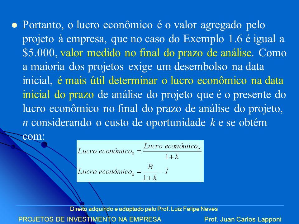 Portanto, o lucro econômico é o valor agregado pelo projeto à empresa, que no caso do Exemplo 1.6 é igual a $5.000, valor medido no final do prazo de análise. Como a maioria dos projetos exige um desembolso na data inicial, é mais útil determinar o lucro econômico na data inicial do prazo de análise do projeto que é o presente do lucro econômico no final do prazo de análise do projeto, n considerando o custo de oportunidade k e se obtém com:
