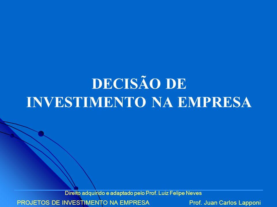 DECISÃO DE INVESTIMENTO NA EMPRESA