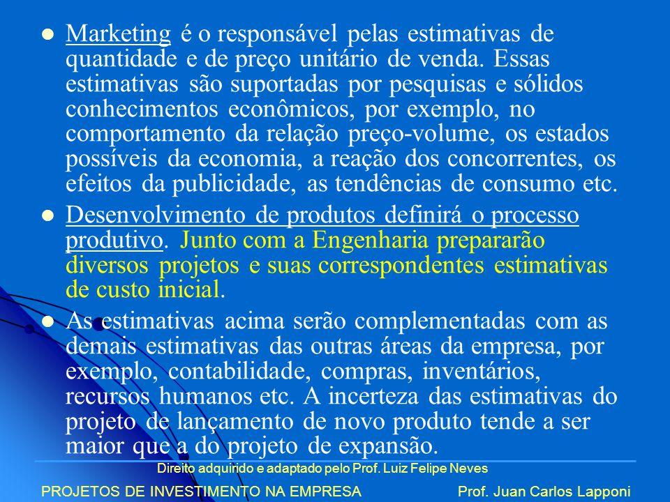 Marketing é o responsável pelas estimativas de quantidade e de preço unitário de venda. Essas estimativas são suportadas por pesquisas e sólidos conhecimentos econômicos, por exemplo, no comportamento da relação preço-volume, os estados possíveis da economia, a reação dos concorrentes, os efeitos da publicidade, as tendências de consumo etc.